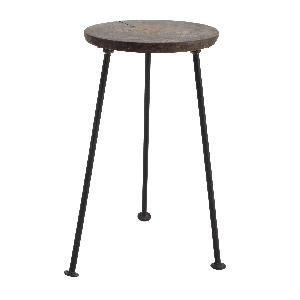 PTMD Chapati wood plant tafel rond iron base groot