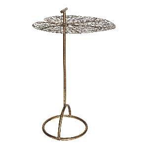 PTMD Bryz gold metal leaf top side table round L