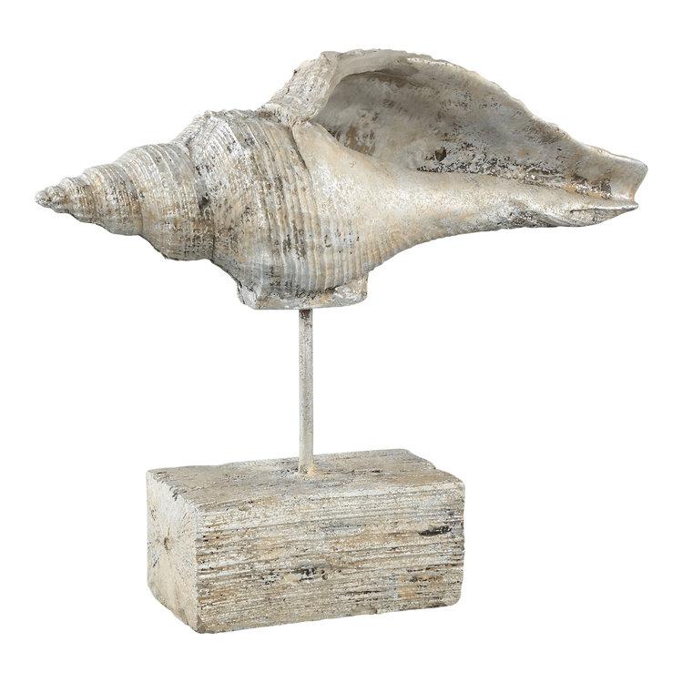 Ptmd zeeschelp standbeeld cement op standaard creme