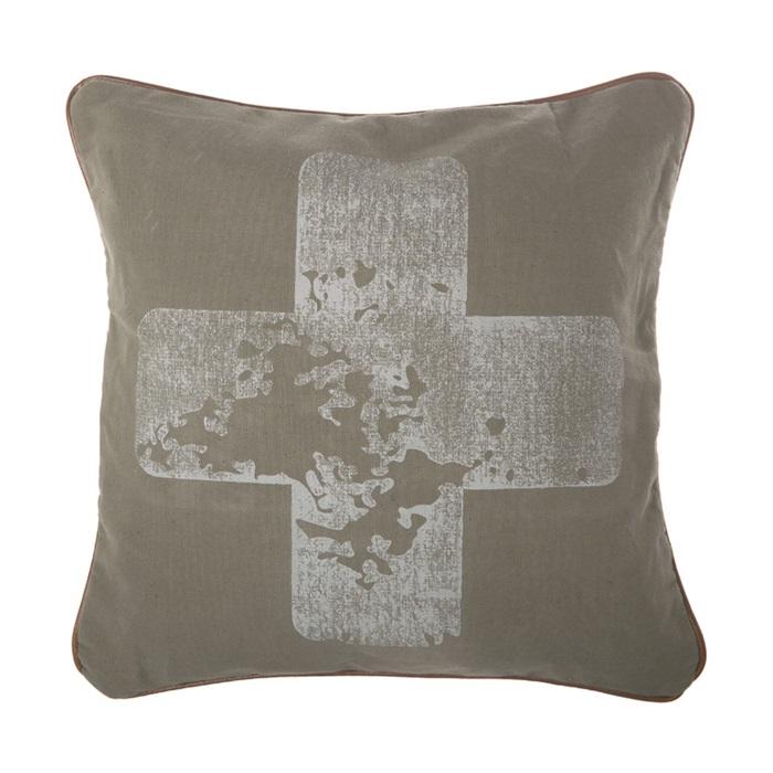 Riverdale Kussen Cross groen 45x45cm 301602-17