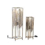 PTMD ' Fayline Gold ijzeren metalen tafellamp bladeren ' L_