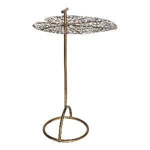 PTMD Bryz gold metal leaf top side table round L