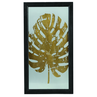 PTMD Fenix gold Glass wood box palm print rectangle 3