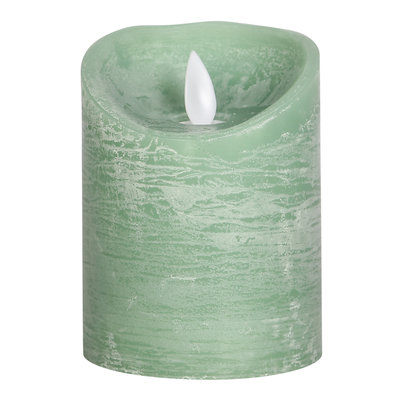 LED light candle Rustic green moveable flame 10x8