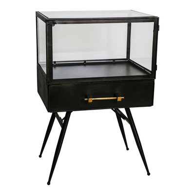 PTMD Jago Black Small Iron/glass Display Cabinet