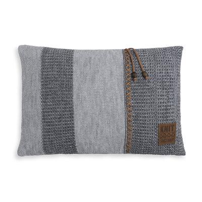 Knit Factory Roxx Kussen Grijs/Antraciet (60 x 40 cm)
