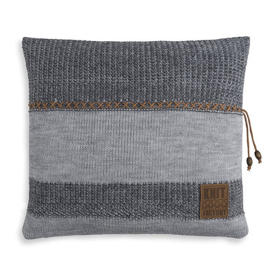 Knit Factory Roxx Kussen Grijs/Antraciet (50 x 50 cm)