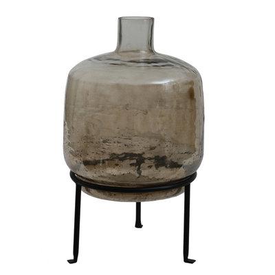 Ptmd flesvormige vaas bruin op standaard klein