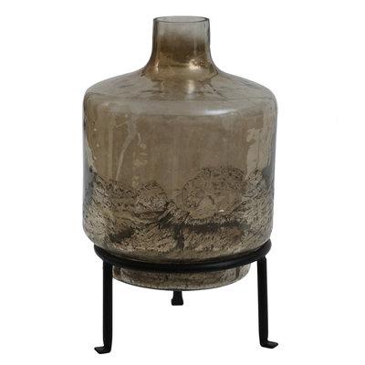 Ptmd flesvormige vaas bruin op standaard groot