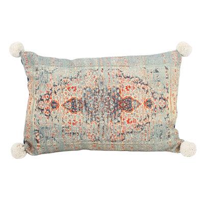 Ptmd kussen met indische print rechthoekig blauw katoen