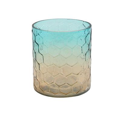 Ptmd waxinelicht honingraat vorm glas bruin/blauw groot