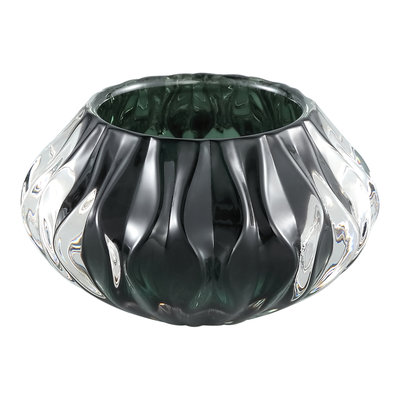 Ptmd theelichtje diamantglas groen rond