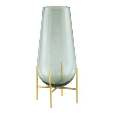 Ptmd vaas groen glas op gouden standaard m
