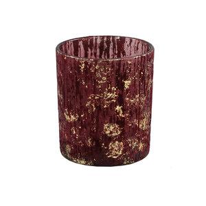 Fluflu Burgundy glass tealight glitter round M