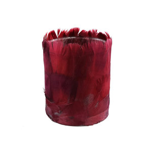 Tije Burgundy glass tealight with feathers round M