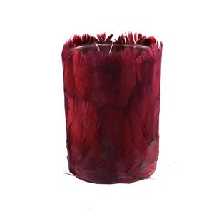 Tije Burgundy glass tealight with feathers round L