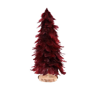 Tije Burgundy feather LED tree wooden base M