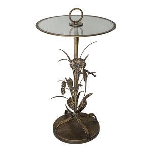 ptmd Bryz Gold bijzettafel met glas en metaal blad