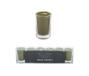 HomeSociety ' Kaarsje In Glas  ' Groen Set Van 6st.