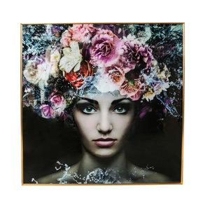 PTMD ' Glas Schilderij Melani Vrouw Met Bloemen '
