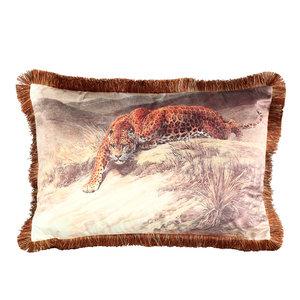 PTMD ' Art Print Velvet Kussens Cheetah Met Franje '