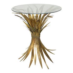 PTMD  'Kahee Goud tafel ijzeren bladeren glazen top '