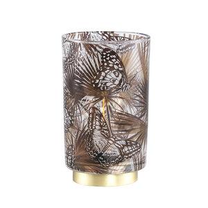 PTMD ' Jennifer Goud glazen LED lamp vlinderprint ' L