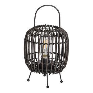 PTMD 'Adela Zwart rattan LED tafel lamp rond hoog'