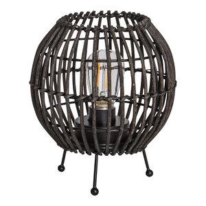 PTMD 'Adela Zwart rattan LED tafel lamp rond'